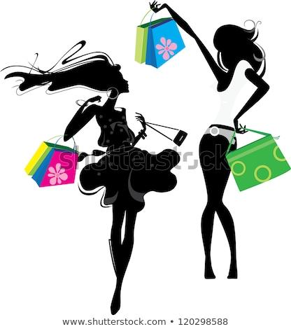 ベクトル ファッション ショッピング 女の子 シルエット 幸せ ストックフォト © JackyBrown