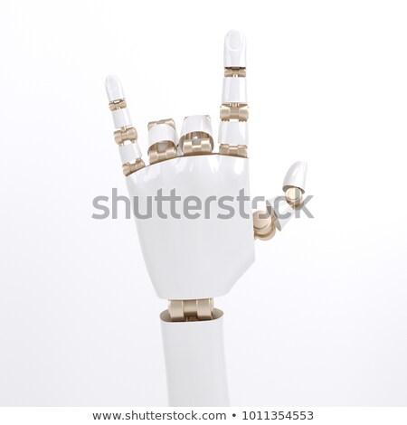 Obszcén kézmozdulat robot robotikus kéz alakú Stock fotó © idesign