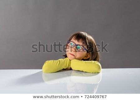 Fiatal lány gondolkodik jövő kék fekete lány Stock fotó © Giulio_Fornasar