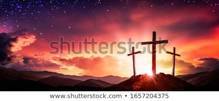 три · крест · холме · небе · пейзаж · горные - Сток-фото © kayco
