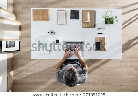 Stock photo: Top view of businessman on his workplace