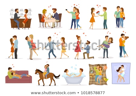 kissing couple in love vector stock photo © beaubelle