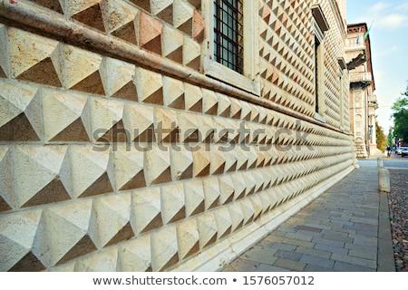 Ferrara (Italy), diamond shaped wall of famous ancient palace Stock photo © eddygaleotti