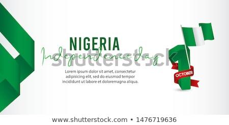 Przycisk symbol Nigeria banderą Pokaż biały Zdjęcia stock © mayboro1964