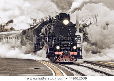 старые · ретро · пар · поезд · небольшой · станция - Сток-фото © remik44992