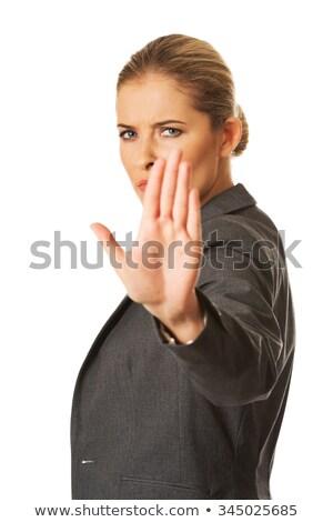 Iş kadını dur işareti beyaz kadın el Stok fotoğraf © hsfelix