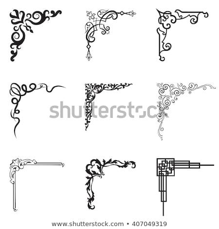 Vektor · schwarz · weiß · Ecke · Design · Muster · Zeichnung - stock foto © Mr_Vector