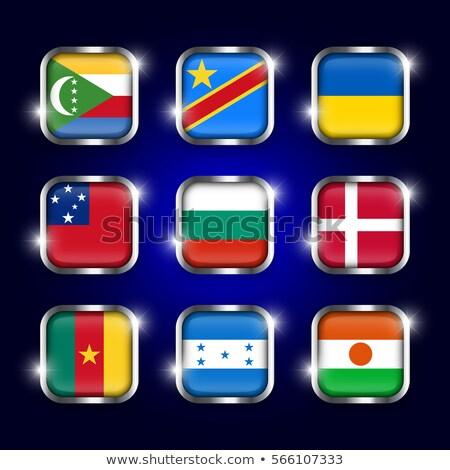 квадратный металл кнопки флаг Камерун изолированный Сток-фото © MikhailMishchenko