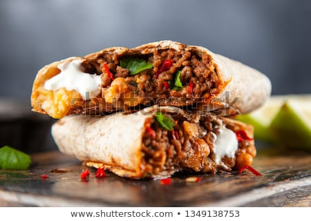 Delicious burrito with beef and salad Stock photo © ozgur