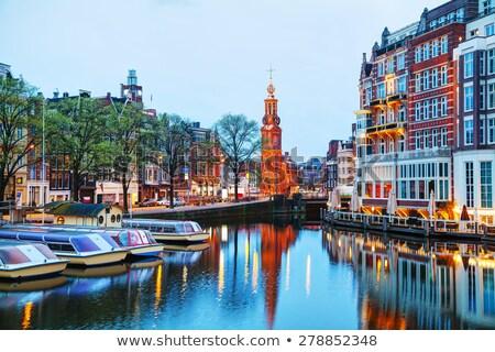kanal · Amsterdam · lale · Hollanda · gökyüzü · su - stok fotoğraf © andreykr