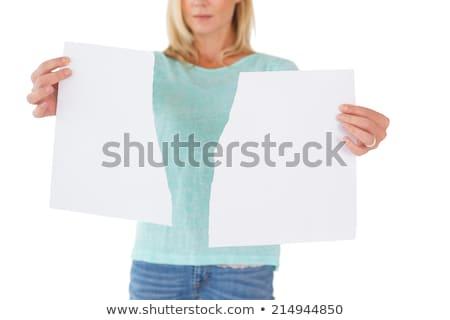 женщину Torn лист бумаги Сток-фото © wavebreak_media