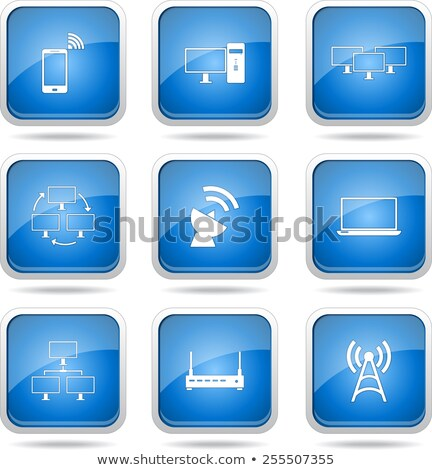 Foto stock: Comunicación · cuadrados · vector · azul · icono · diseno