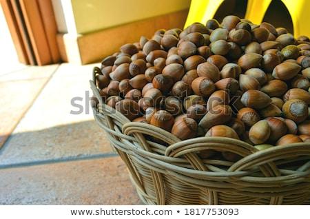 Hazelnoten mand oude houten voedsel vruchten Stockfoto © saharosa