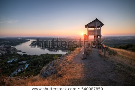 Wooden Tourist Observation Tower above a Little City with River  Stock photo © Kayco