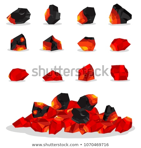 Stock photo: vector black and white clipart set of ovens with burning fire