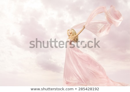 Young girl with dancing with shawl Stock photo © nizhava1956