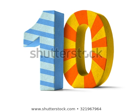 Colorful Paper Mache Number on a white background  - Number 10 Stock photo © Zerbor