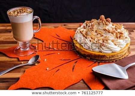 Kabak cheesecake sonbahar bir dilim krem şanti Stok fotoğraf © rojoimages