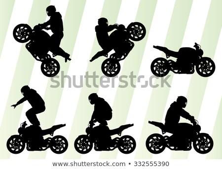 男性 スタント バイク ガラス シルエット ストックフォト © shawlinmohd
