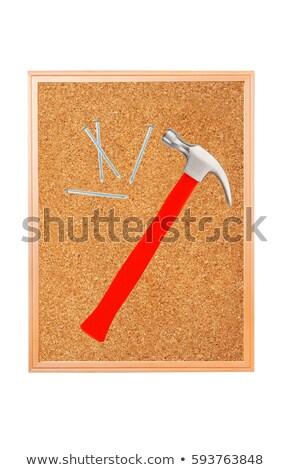 Kalapács körmök parafa tábla felület fa Stock fotó © tetkoren