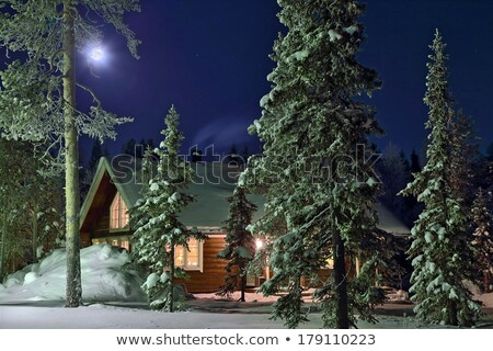 Stockfoto: Outen · Huis · In · De · Winter · Hout · In · De · Schemering
