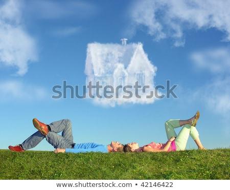 Souriant couple herbe rêve nuage maison Photo stock © Paha_L