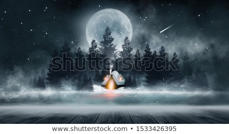 Winter fairy-tale house in snow with clouds Stock photo © LoopAll