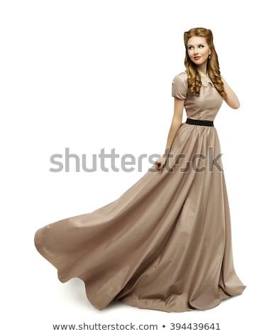 Longo branco vestido bastante mulher loira Foto stock © disorderly
