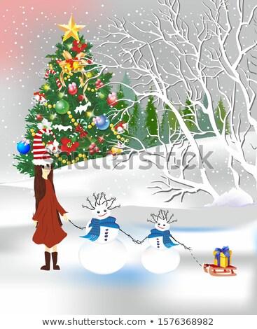 Karácsony díszek arany szalag vörös szalag labda Stock fotó © madelaide