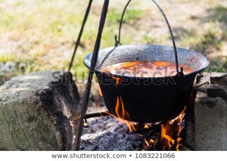 caldeirão · foto · pão · prato · carne - foto stock © nneirda