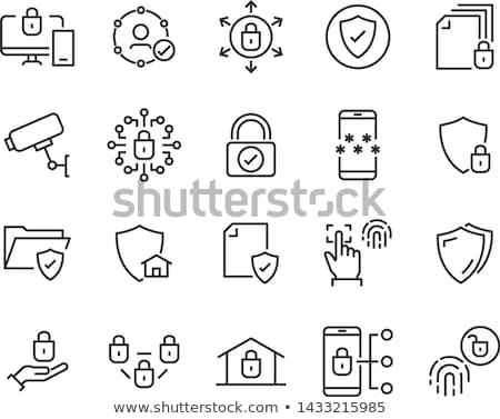wolk · slot · icon · bescherming · veiligheid · ontwerp - stockfoto © rastudio