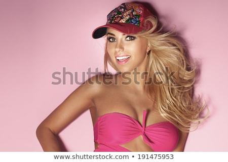 Gyönyörű vonzó nő hosszú göndör haj fürdőruha melltartó Stock fotó © deandrobot