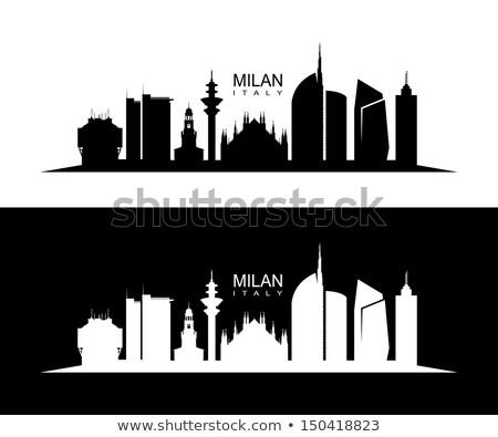 Milaan Italië tekst zwaar cartoon naam Stockfoto © blamb