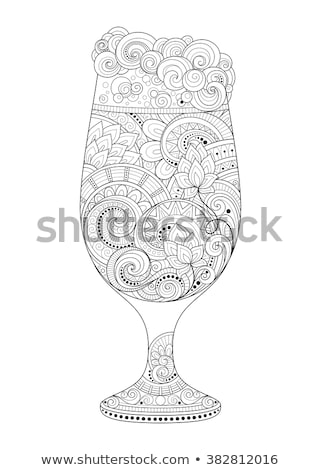 Vector Contour Glass of Beer with Decorative Doodle Pattern Stock photo © lissantee