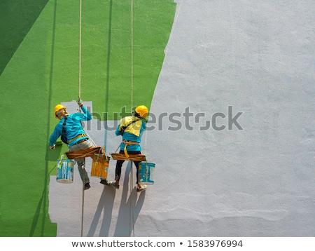 trabajador · yeso · techo · casa · construcción - foto stock © zurijeta