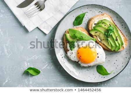 Torrado pão abacate salada fatias madeira Foto stock © Digifoodstock
