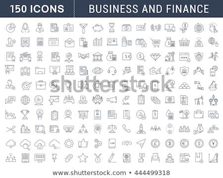 Stock fotó: Vékony · vonal · üzlet · pénzügy · ikon · szett · modern