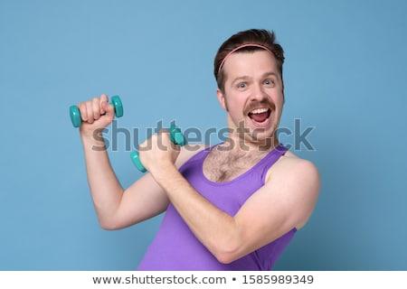 Forte jovem treinamento pesado Foto stock © deandrobot