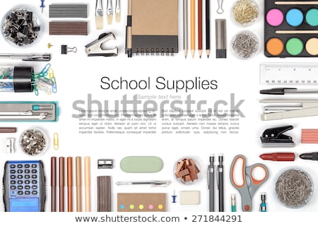 notebook, eraser, ruler, pencil and paperclips  Stock photo © OleksandrO