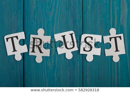 Puzzle Wort Vertrauen Puzzleteile Bau Spielzeug Stock foto © fuzzbones0