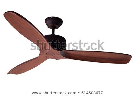 three blades wood ceiling fan isolated on white background stock photo © frameangel