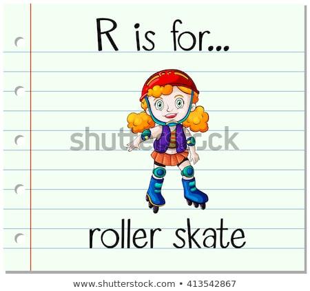 R betű korcsolya illusztráció lány sport háttér Stock fotó © bluering