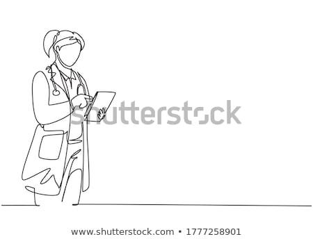 proste · szkic · lekarz · ilustracja · biały · medycznych - zdjęcia stock © bluering
