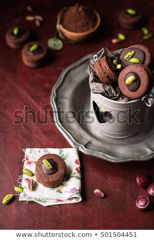 Töltött csokoládé pisztácia diók süti darab Stock fotó © faustalavagna