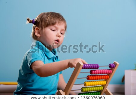 Garçon fille boulier illustration enfants enfants Photo stock © bluering