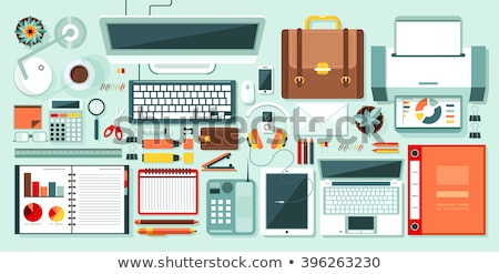 Adhesive note, magnifying glass and pen on keyboard Stock photo © goir