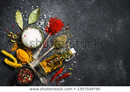 Stock photo: Olive Oil with Rosemary, Saffron and Coriander