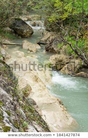 Turkoois rivier rotsen verticaal Stockfoto © TasiPas
