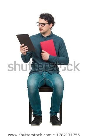 diák · póló · tart · könyv · kék · kezek - stock fotó © deandrobot