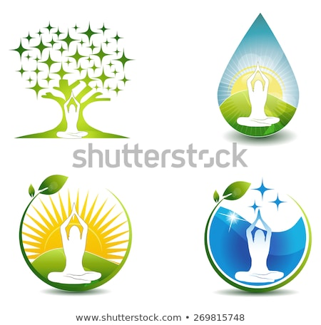 Relaxation symbols. Woman meditate at the front of abstract tree stock photo © Tefi